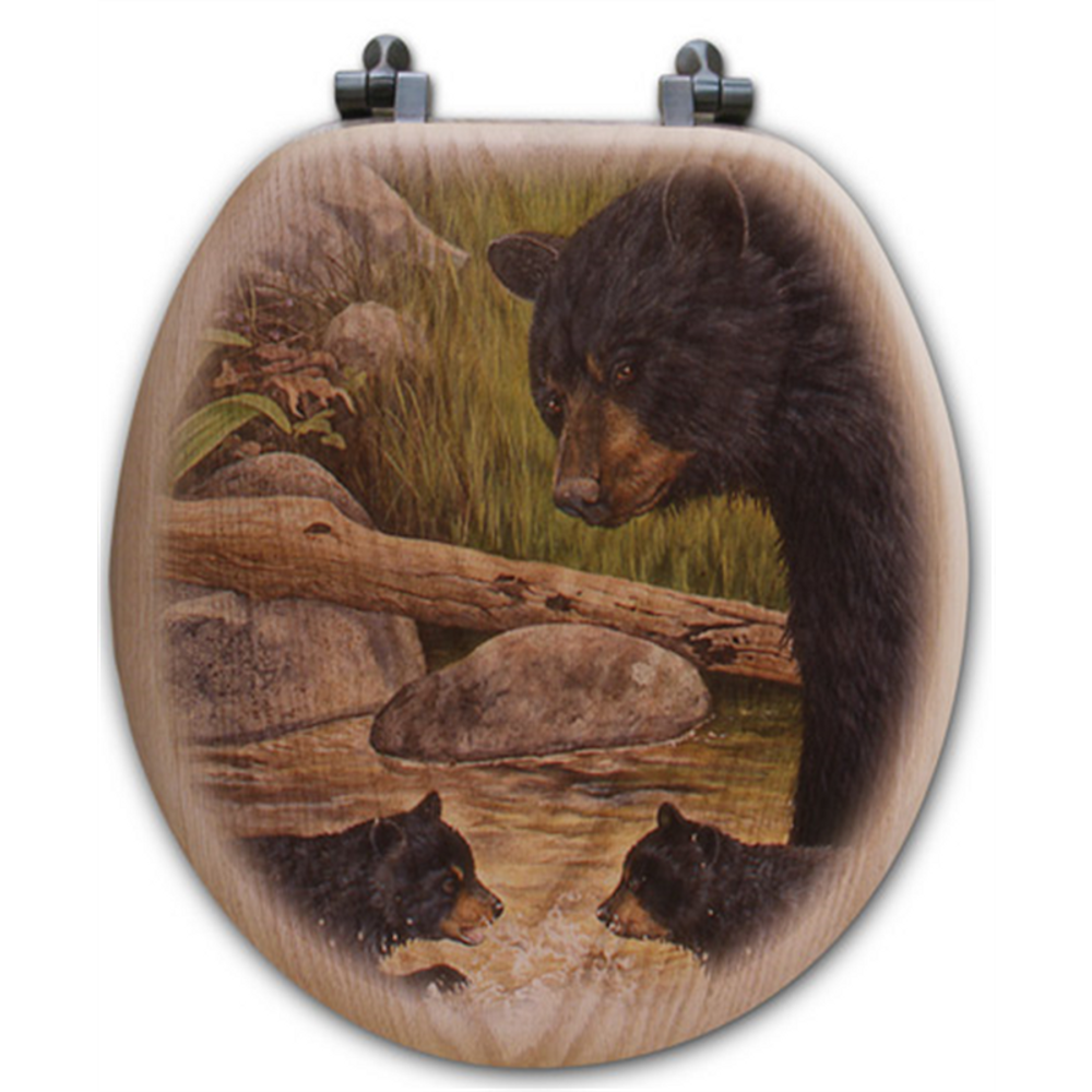 Bear Creek Gang Oak Wood Round Toilet Seat | Wood Graphixs | WGIBCG-R