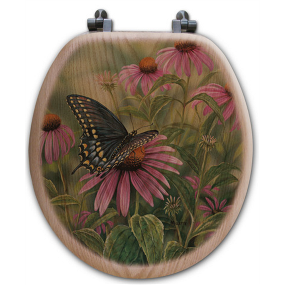 Black Swallow Tail Butterfly Oak Wood Round Toilet Seat | Wood Graphixs | WGIBSTB-R-OAK