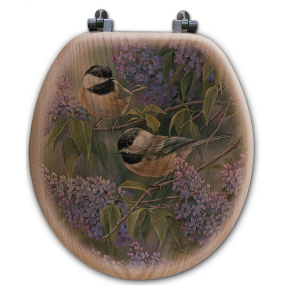 Chickadee and Lilac Oak Wood Round Toilet Seat | Wood Graphixs | WGICAL-R