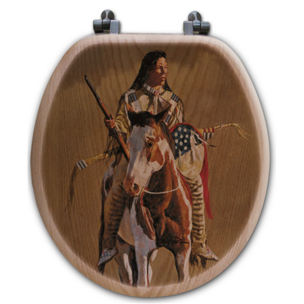 """Horse and Rider Oak Wood Round Toilet Seat """"Ghost of the Plains"""" 