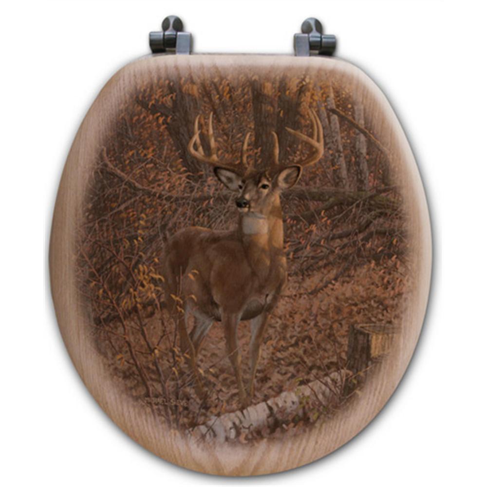 "Deer Oak Wood Round Toilet Seat ""Great Eight""   Wood Graphixs   WGIDGE-R"