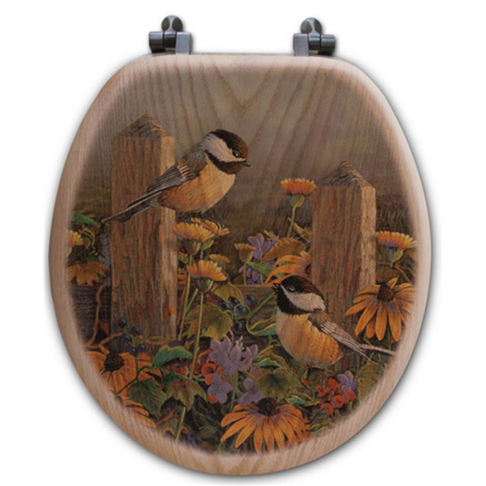 "Chickadee Oak Wood Round Toilet Seat ""Linda's Chickadees"" | Wood Graphixs | WGICLC-R"