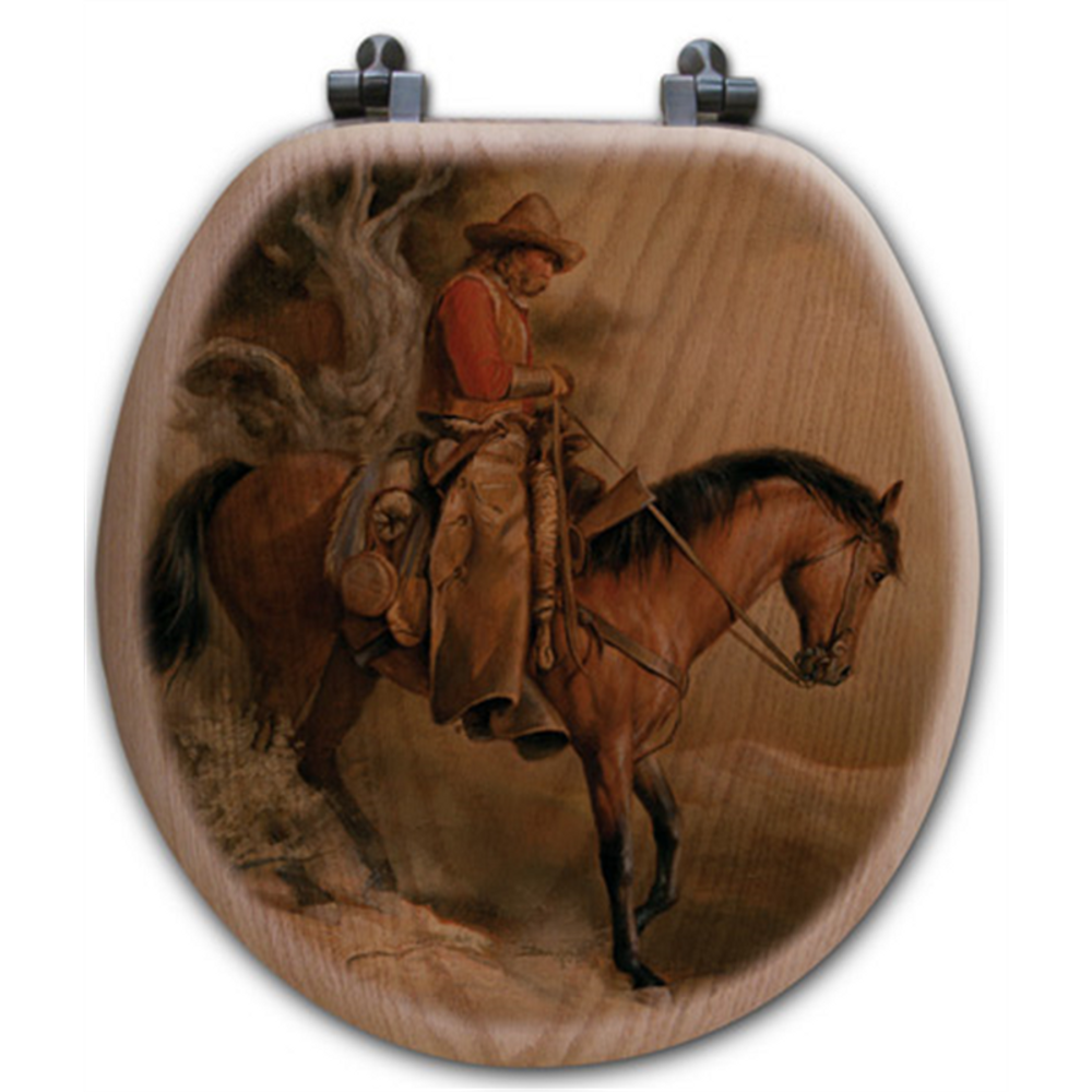 "Cowboy Oak Wood Round Toilet Seat ""Long Road Home"" 