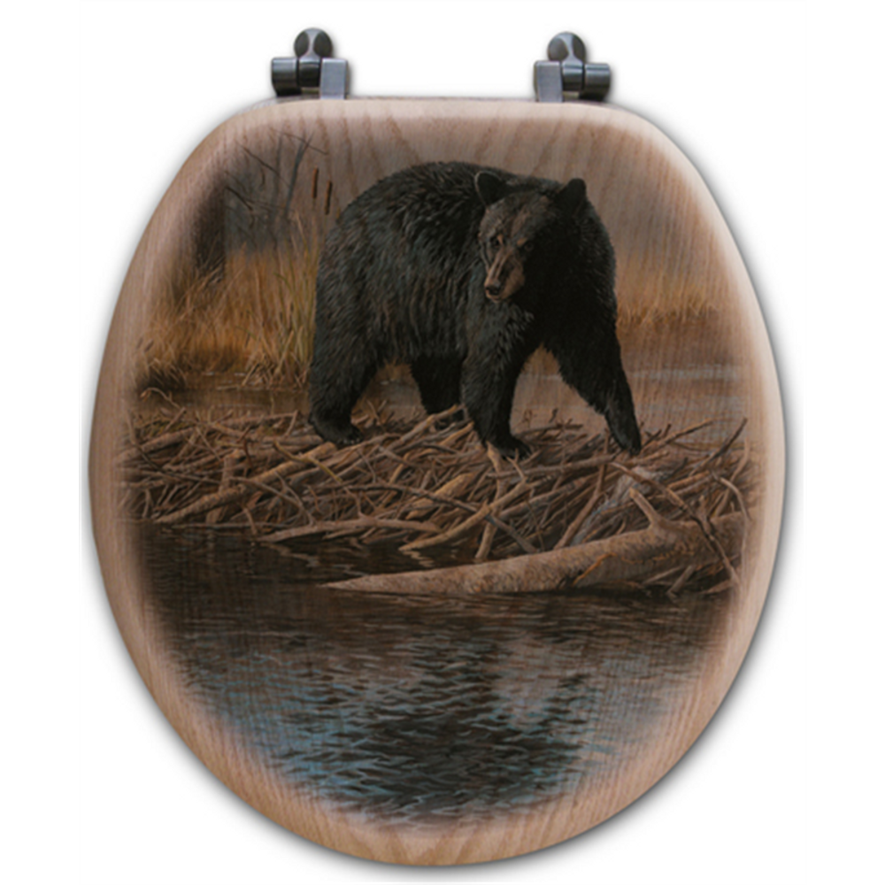 "Bear Oak Wood Round Toilet Seat ""No Trespassing"" 