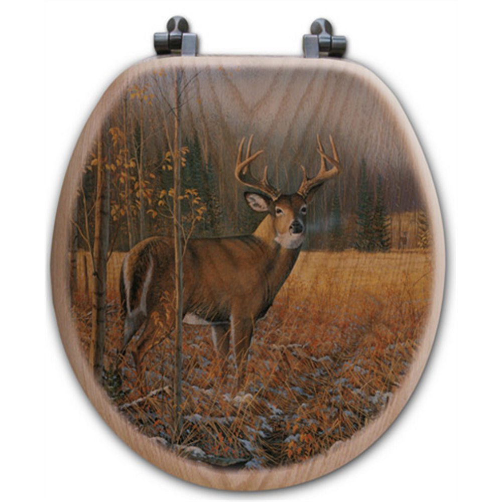 "Deer Oak Wood Round Toilet Seat ""November Whitetail"" 
