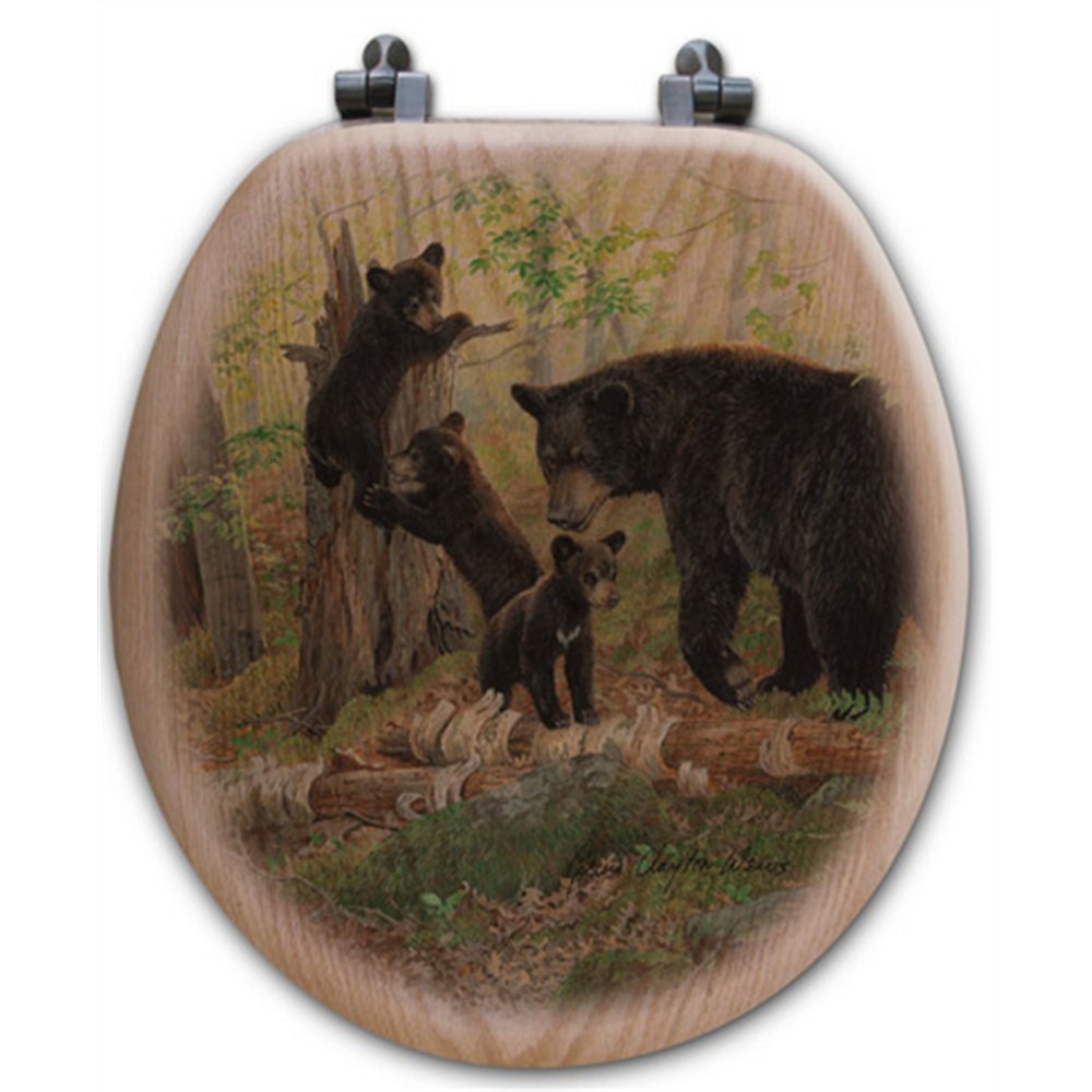 """Bear and Cubs Oak Wood Round Toilet Seat """"Playtime"""" 