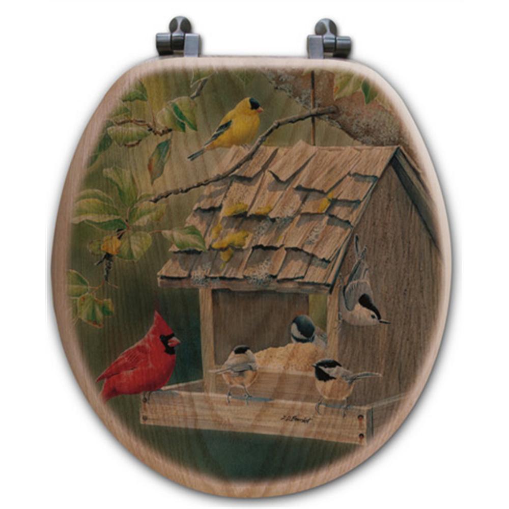 "Bird House Oak Wood Round Toilet Seat ""Summer Feast"" | Wood Graphixs | WGIBHSF-R"