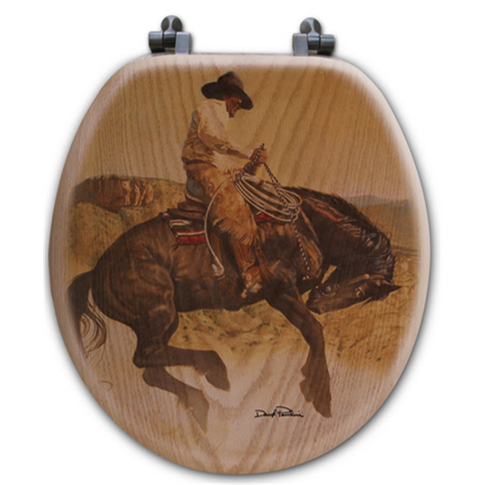 "Cowboy Oak Wood Round Toilet Seat ""Sun Fishin"" | Wood Graphixs | WGICBSF-R"