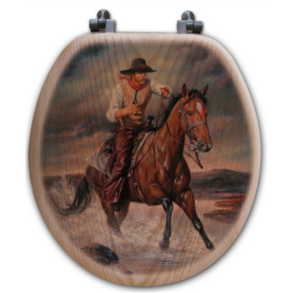 "Cowboy Oak Wood Round Toilet Seat ""The Crossing"" 