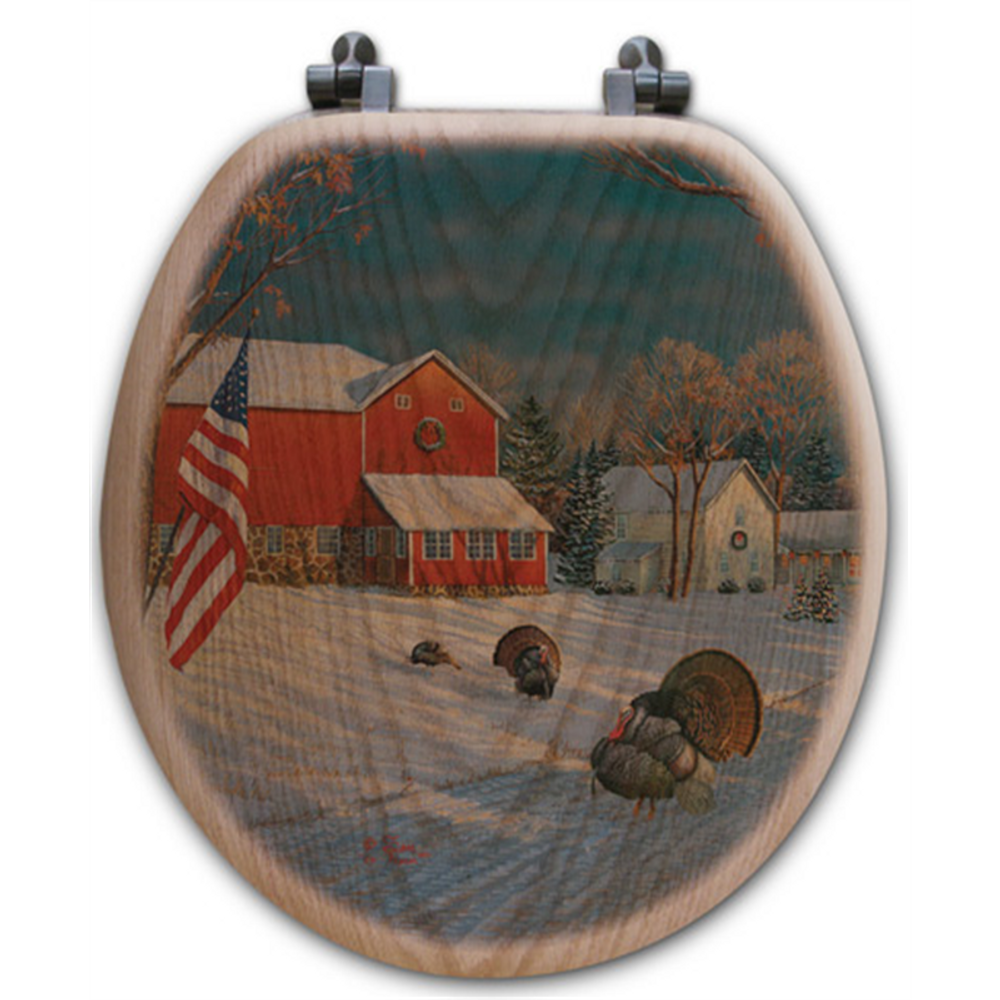 "Wild Turkey Oak Wood Round Toilet Seat ""The Good Old Barn"" 