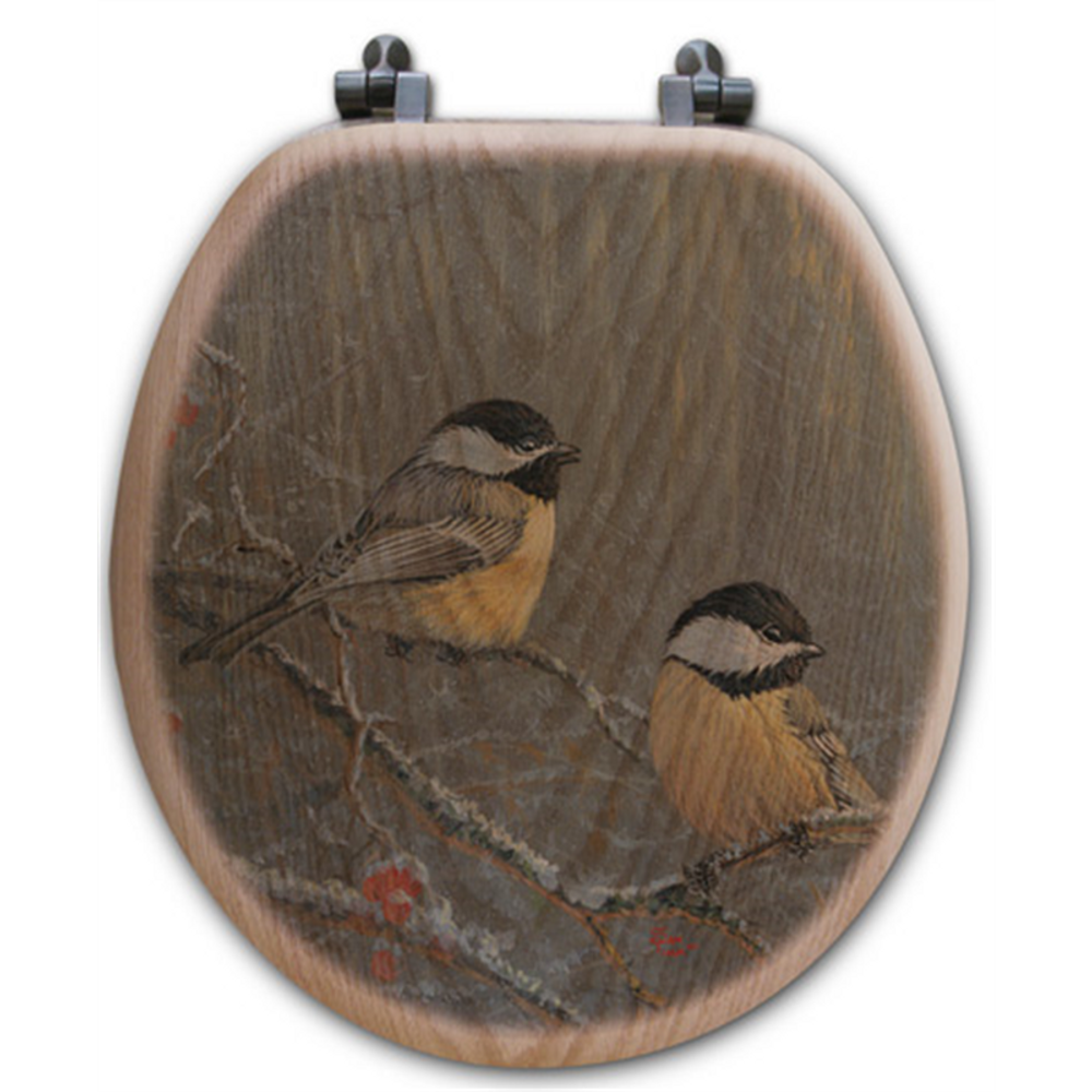 "Chickadee Oak Wood Round Toilet Seat ""Winter Breeze"" 