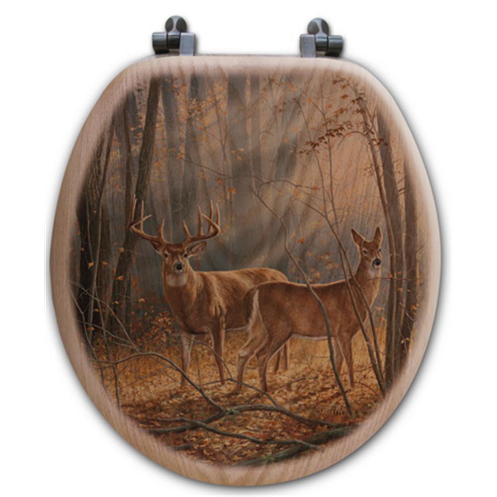 "Deer Oak Wood Round Toilet Seat ""Woodland Splendor"" | Wood Graphixs | WGIDWS-R"