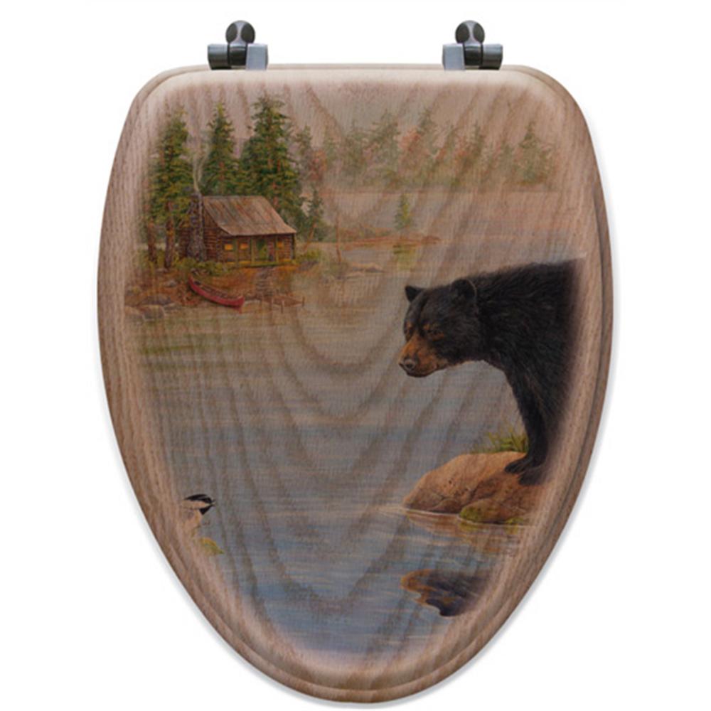 "Bear Oak Wood Elongated Toilet Seat ""Misty Morning Encounter"" | Wood Graphixs | WGIBMME-E"