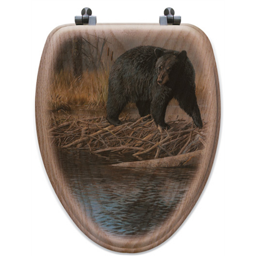 "Bear Oak Wood Elongated Toilet Seat ""No Trespassing""   Wood Graphixs   WGIBNT-E"