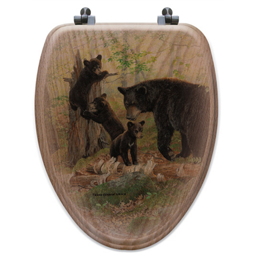 """Bear and Cubs Oak Wood Elongated Toilet Seat """"Playtime"""" 