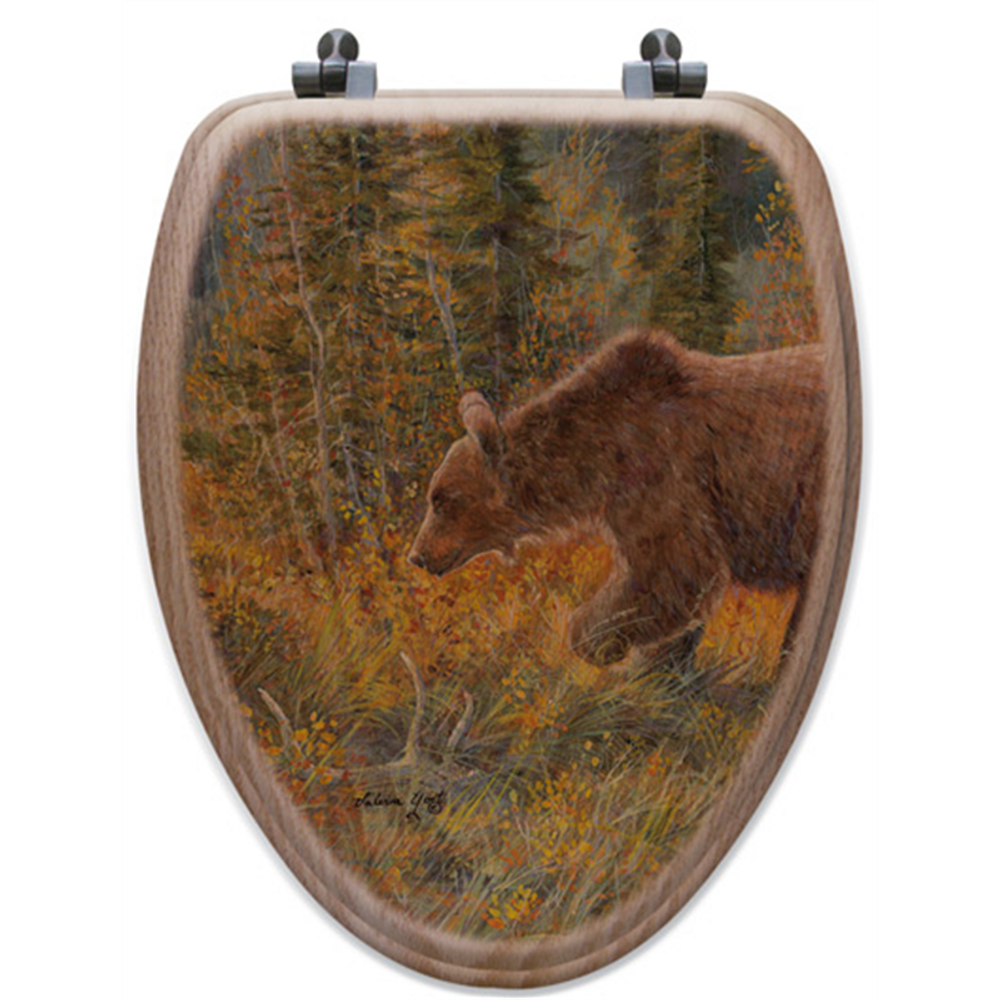 "Bear Oak Wood Elongated Toilet Seat ""The Grizzly Walk"" | Wood Graphixs | WGIBTGW-E"