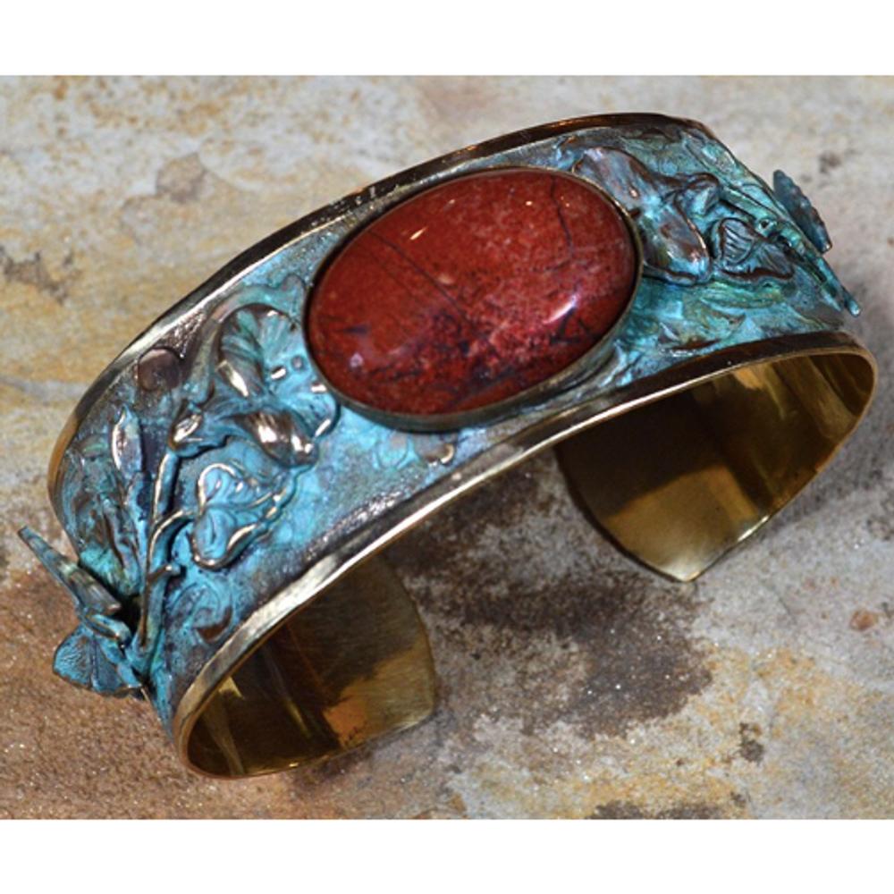 Butterfly Flower Patina Brass Cuff Jasper Bracelet   Elaine Coyne Jewelry   ZGP202BC