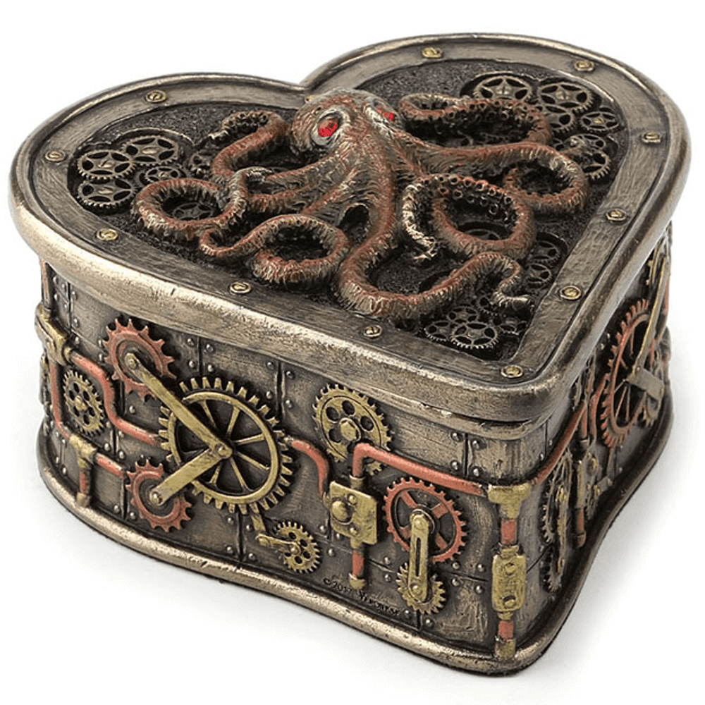 Octopus Steampunk Heart Trinket Box | Unicorn Studio | WU77295A4