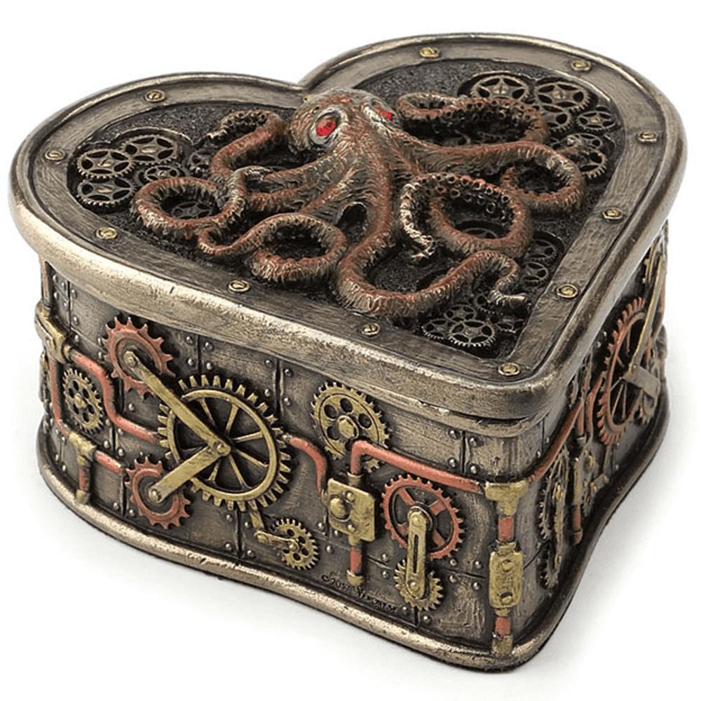 Octopus Steampunk Heart Trinket Box   Unicorn Studio   WU77295A4