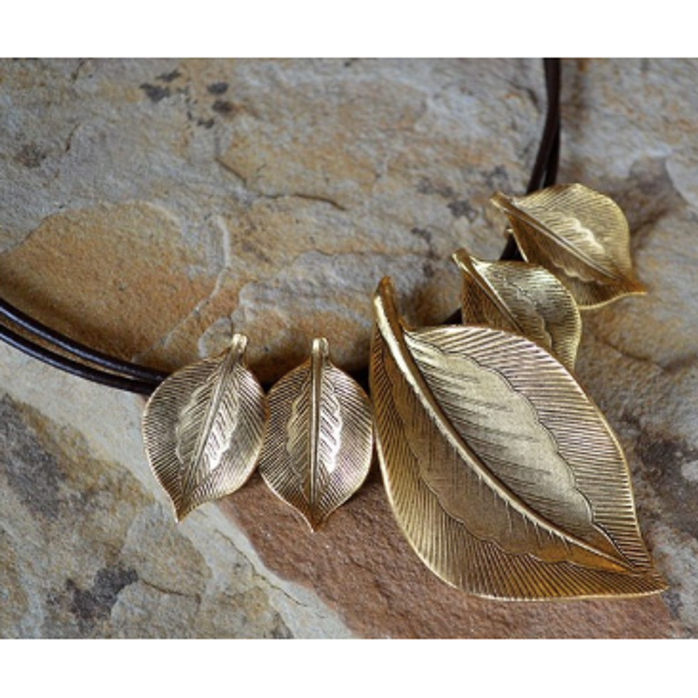 Antique Gold Brass Leaf Cord Necklace | Elaine Coyne Jewelry | NASG77N