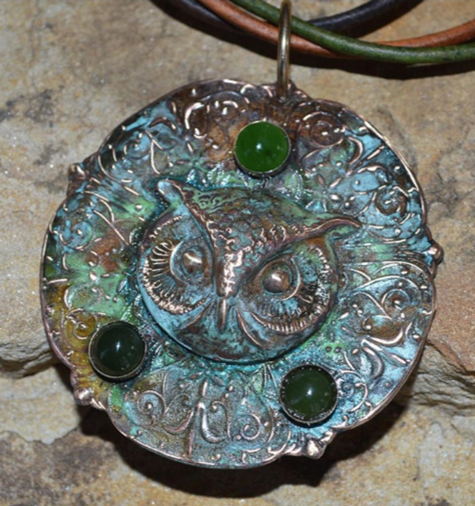 Owl Patina Brass Jade Pendant   Elaine Coyne Jewelry   OWO147PD