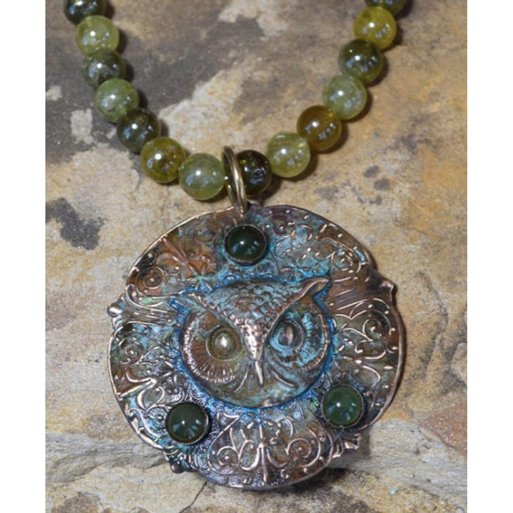 Owl Patina Brass Jade Bead Necklace | Elaine Coyne Jewelry | OWO147N