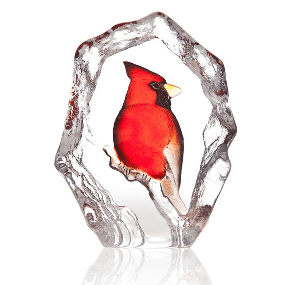 Cardinal Painted Crystal Sculpture | 34264 | Mats Jonasson Maleras