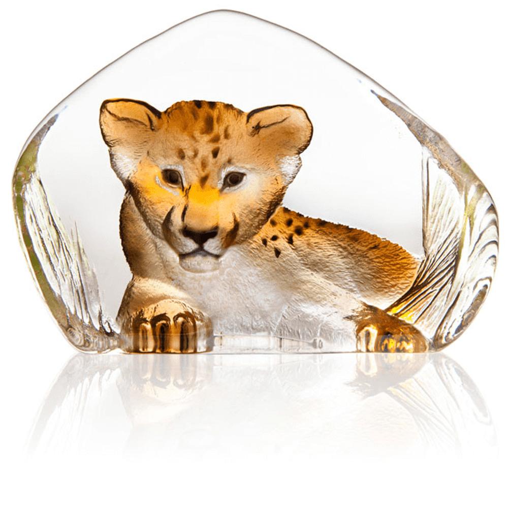 Lion Cub Painted Crystal Sculpture | 34274 | Mats Jonasson Maleras