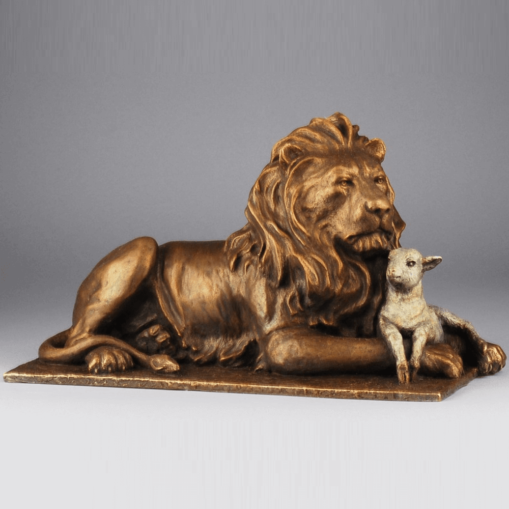 Lion and Lamb Bronze Petite Sculpture | Mark Hopkins | 33089