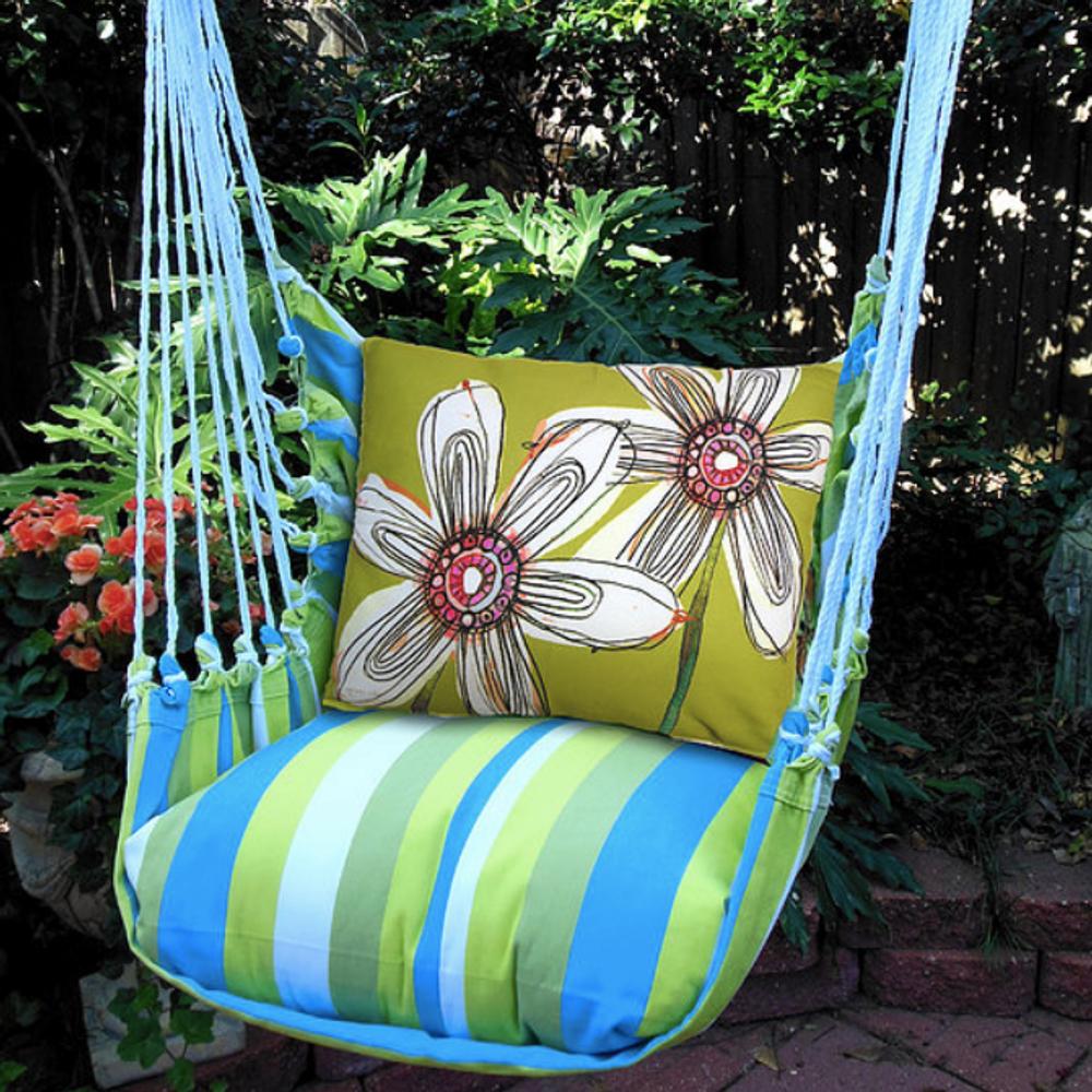 "White Flower Hammock Chair Swing ""Beach Boulevard"" | Magnolia Casual | BBFBFL-SP"