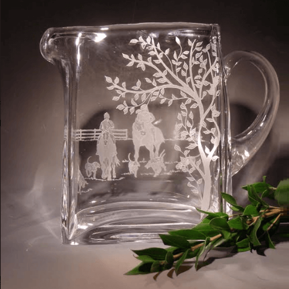 Fox Hunt Etched Crystal Pitcher   Evergreen Crystal   P1010402-651