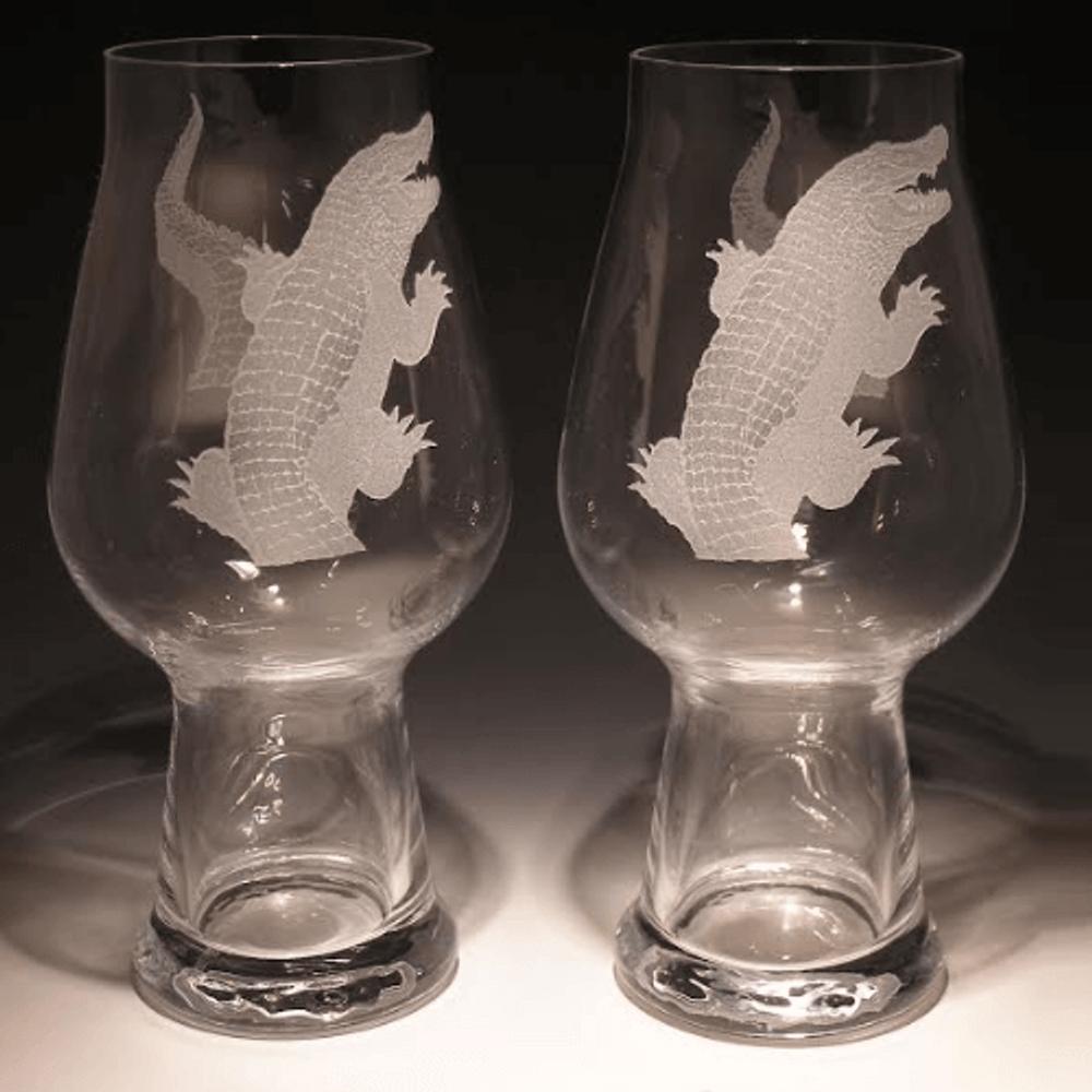 Alligator Etched Crystal Craft Beer Glass Set of 2 | 009-NA-38Alligator | Evergreen Crystal