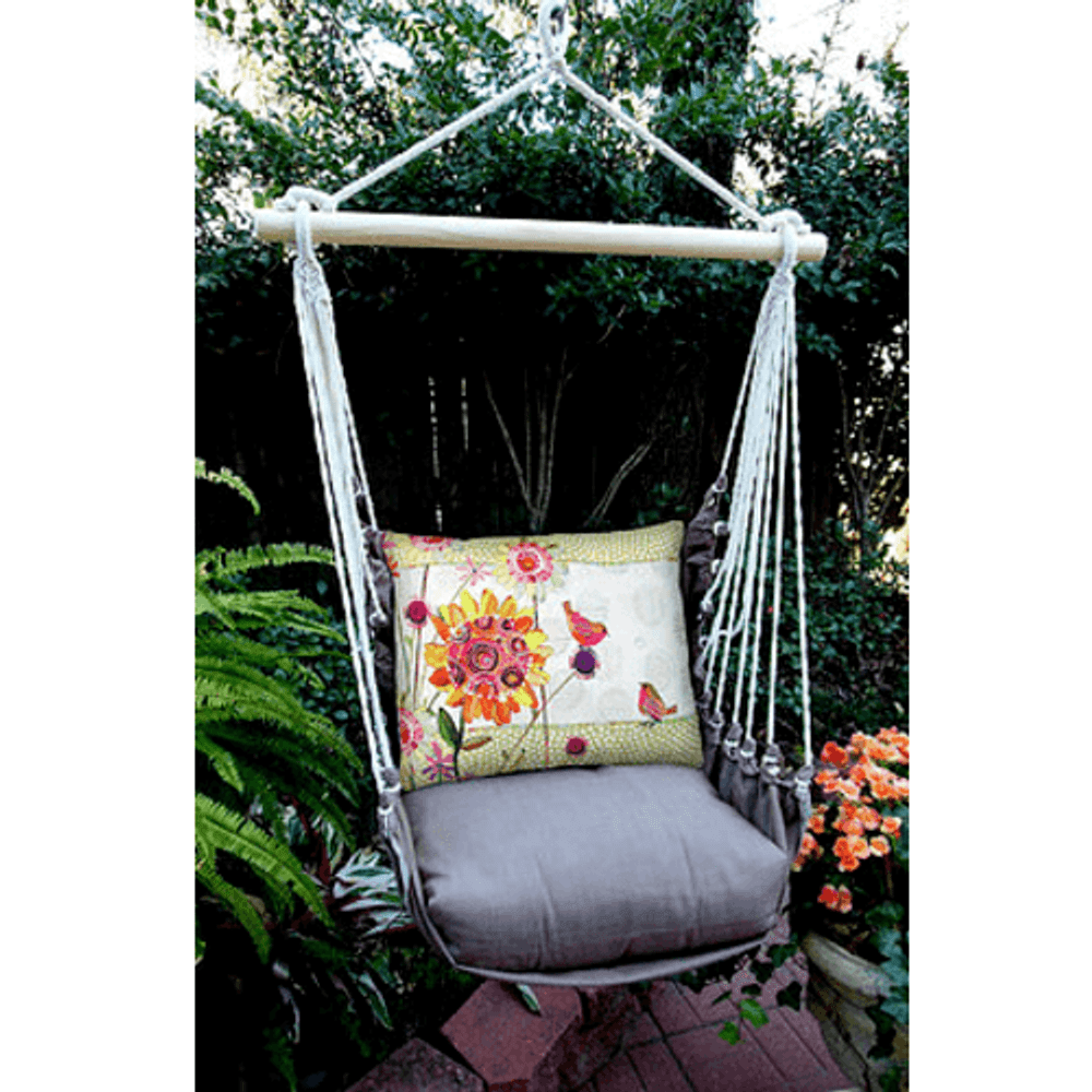 "Birds and Flowers Hammock Chair Swing ""Chocolate"" 