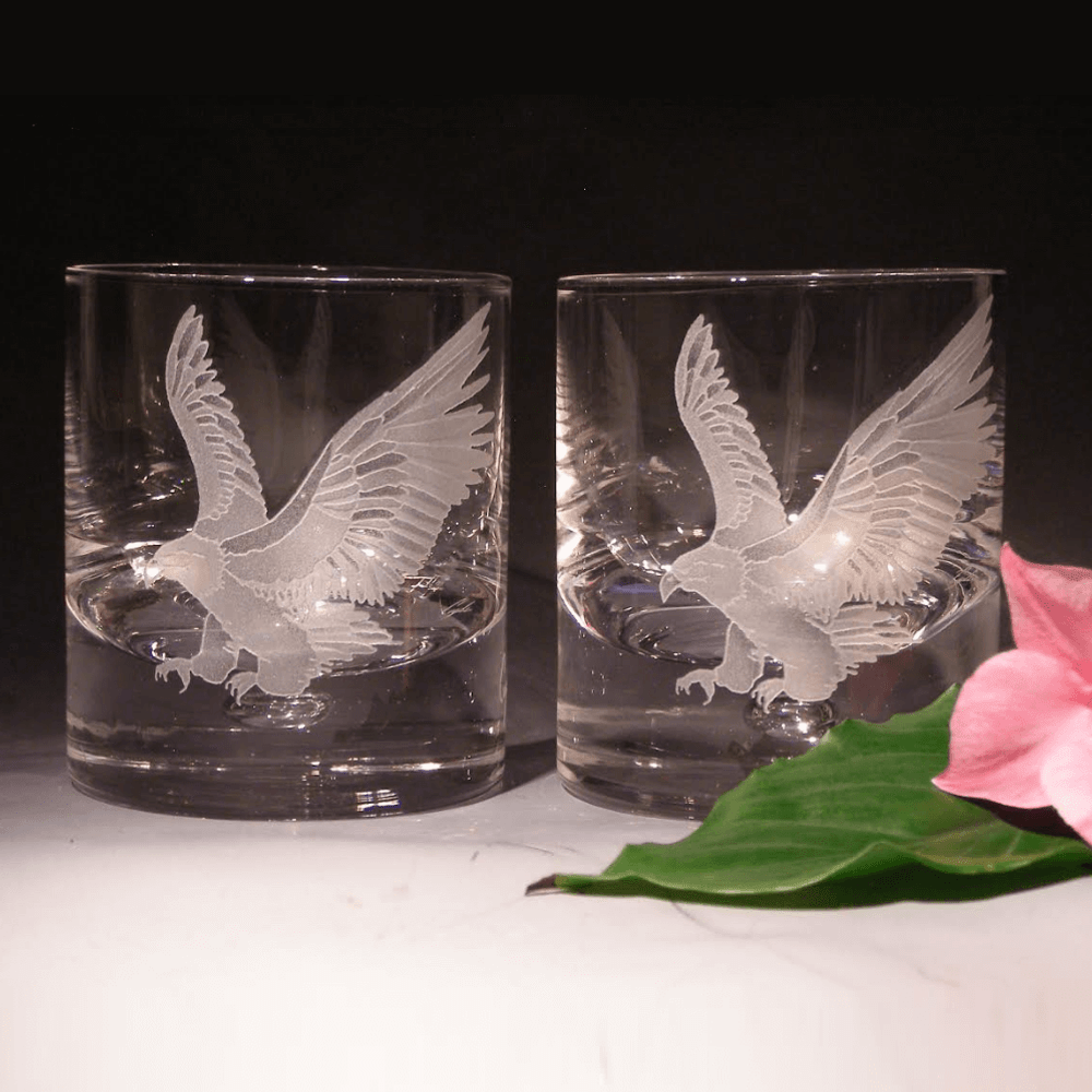 Eagle Etched Crystal 11 oz Double Old Fashioned Glass Set of 2 | Evergreen Crystal | 620-NA13