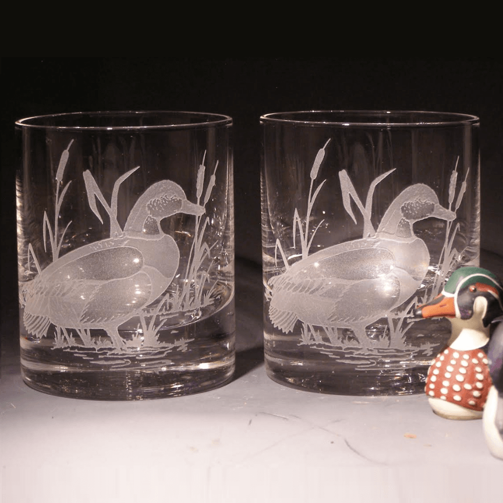 Mallard Etched Crystal 11 oz Double Old Fashioned Glass Set of 2   Evergreen Crystal   620-NA20