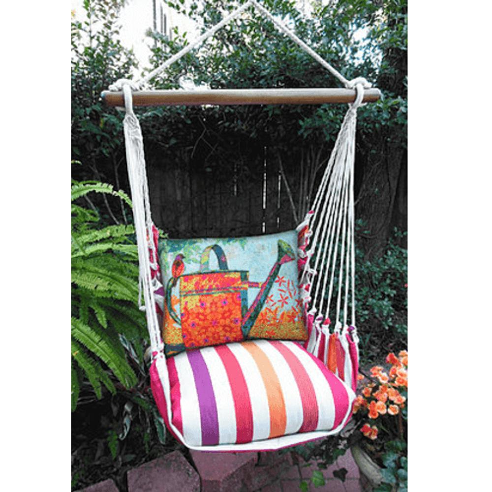 "Bird and Watering Can Hammock Chair Swing ""Cristina Stripe"" | Magnolia Casual | CRTC505-SP"
