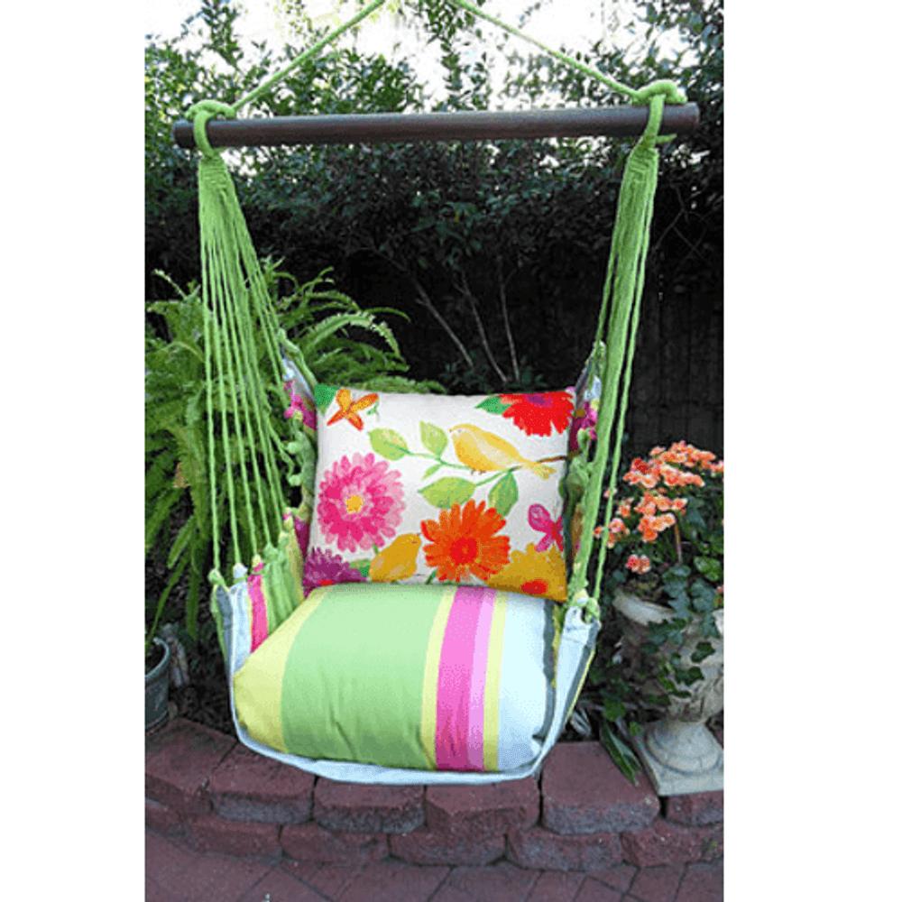 "Bird with Flower Hammock Chair Swing ""Fresh Lime""   Magnolia Casual   FLBC501-SP"