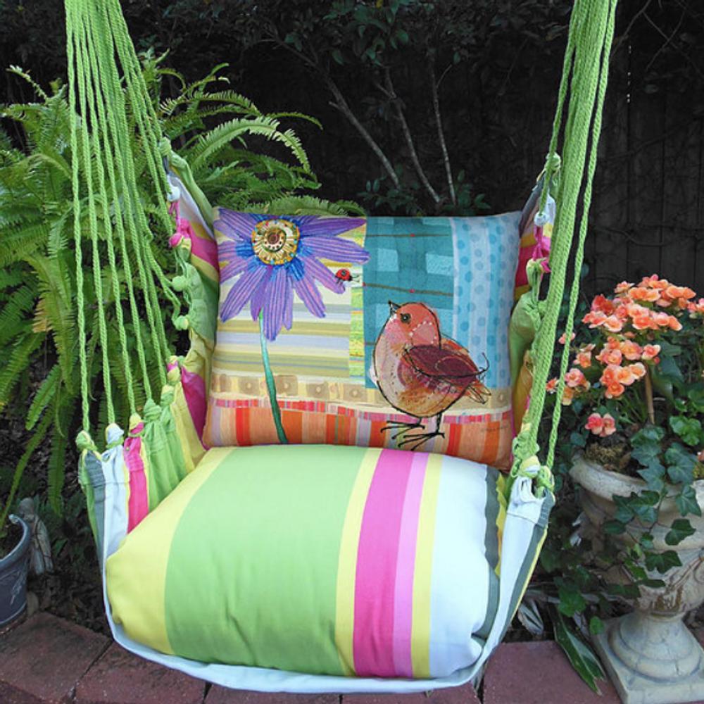 "Bird and Daisy Hammock Chair Swing ""Fresh Lime"" | Magnolia Casual | FLRRPDB-SP"