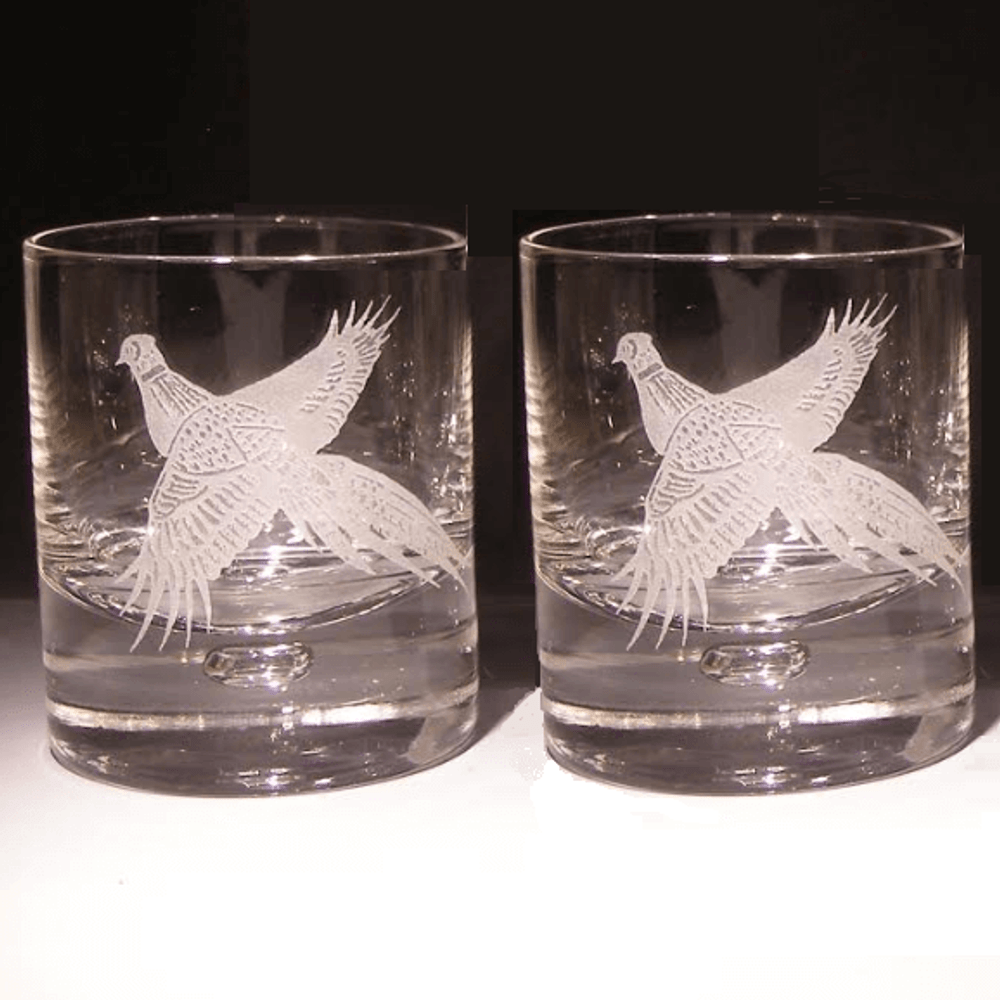 Pheasant Etched Crystal 11 oz Double Old Fashioned Glass Set of 2   Evergreen Crystal   620-NAPheasant