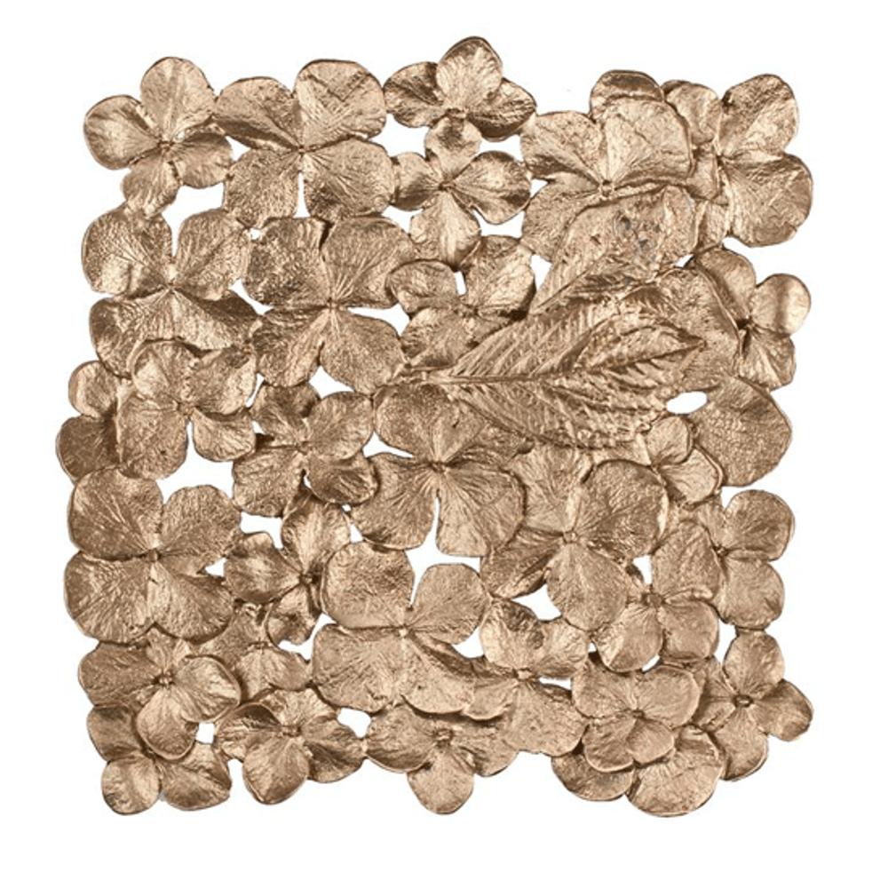 Hydrangea Pewter and Bronze Trivet | Michael Michaud Table Art | TR9721AB