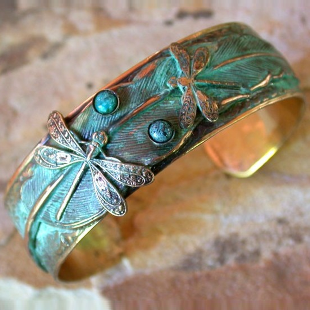 Dragonfly Brass Turquoise Cuff Bracelet | Elaine Coyne Jewelry | NAP131BCtur