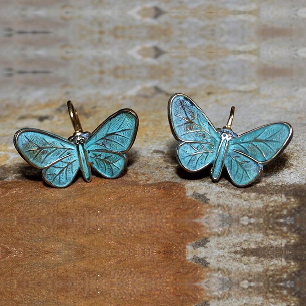 Butterfly Verdigris Leverback Wire Earrings   Elaine Coyne Jewelry   ecgZGP832e