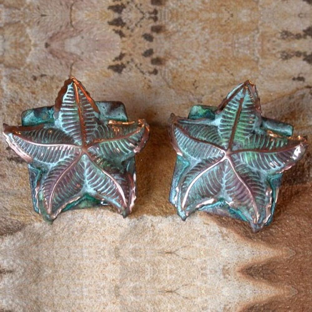 Starfish Verdigris Leverback Wire Earrings | Elaine Coyne Jewelry | ecgOCP51e