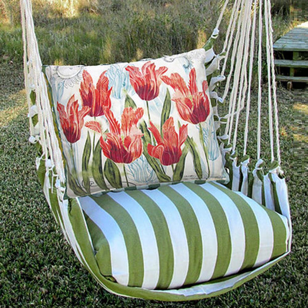 "Tulip Hammock Chair Swing ""Summer Palm"" | Magnolia Casual | SPTC704-SP-2"