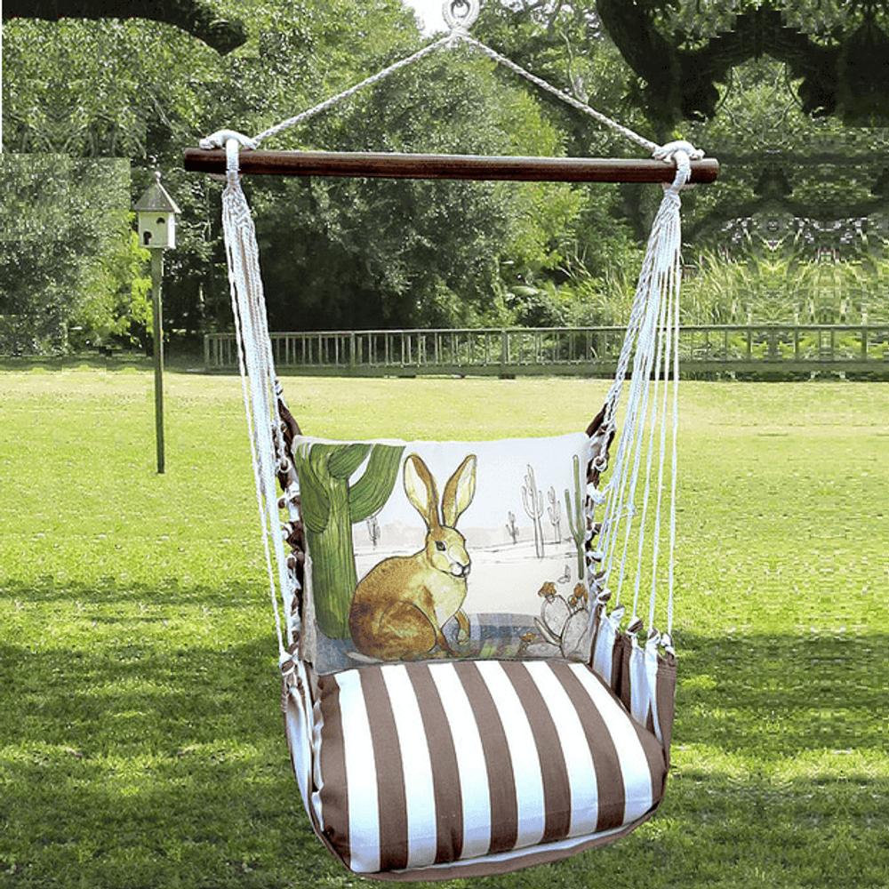 "Jack Rabbit Hammock Chair Swing ""Striped Chocolate"" | Magnolia Casual | SCRR709-SP"