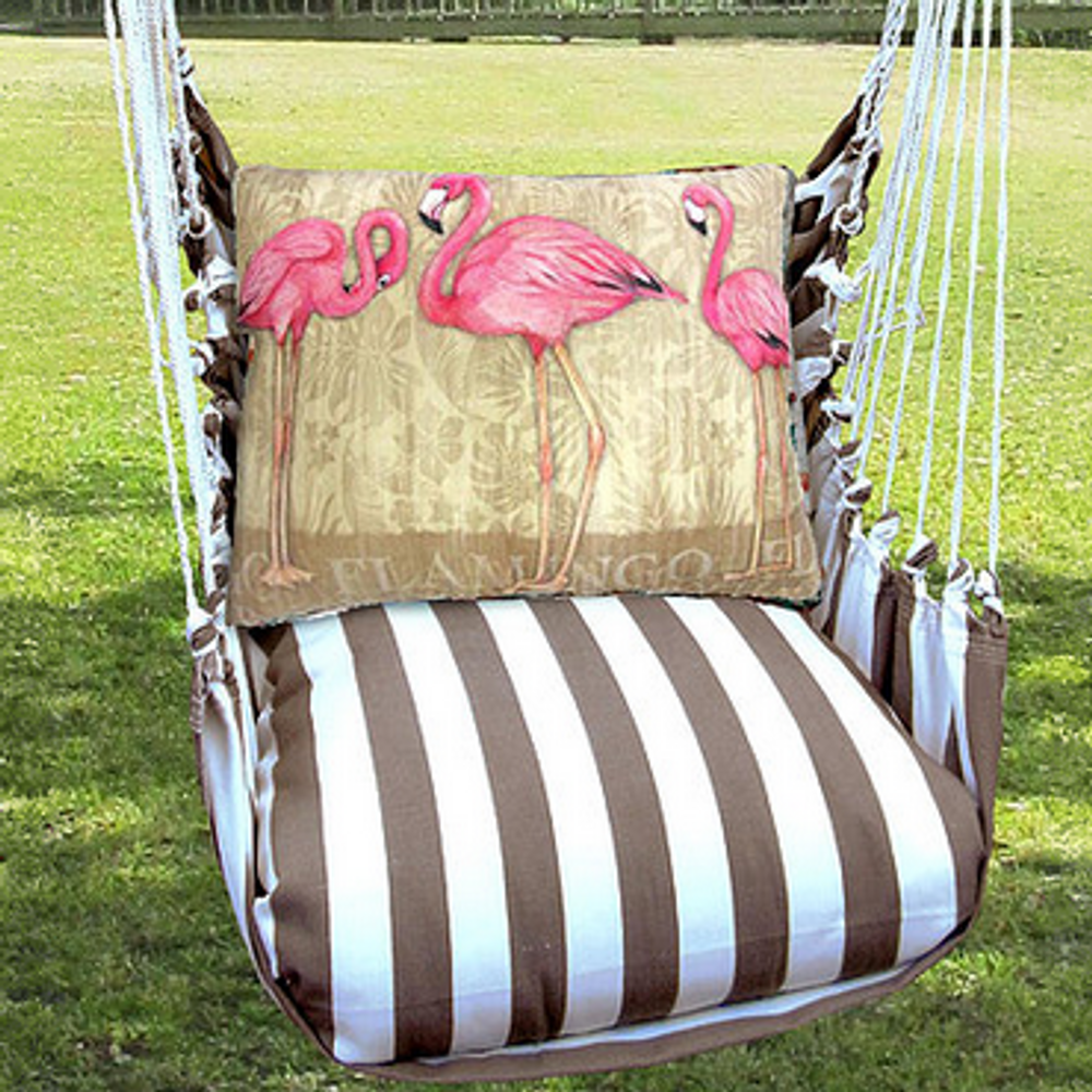 """Flamingo Hammock Chair Swing """"Striped Chocolate""""   Magnolia Casual   SCSW601-SP-2"""