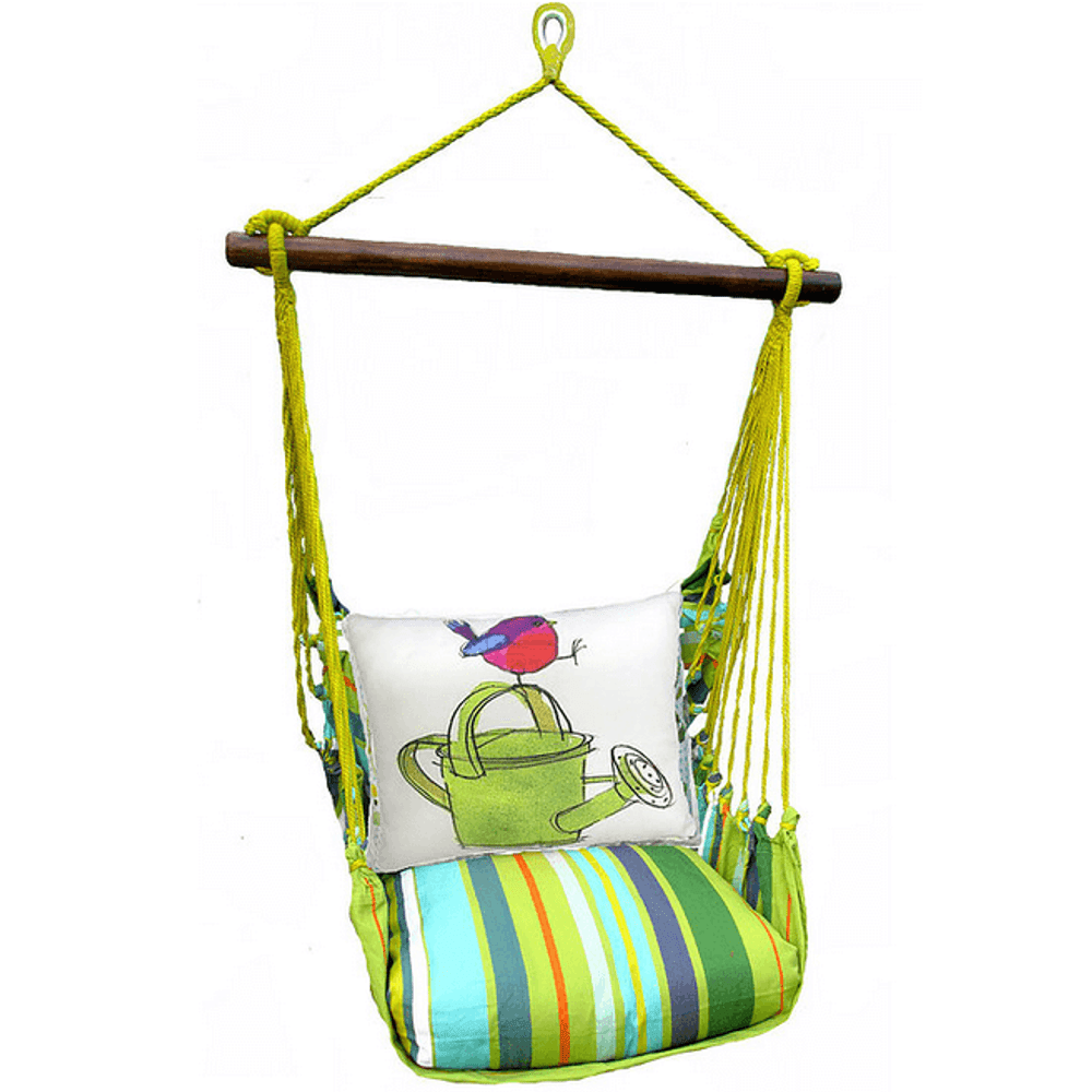 """Bird with Watering Can Hammock Chair Swing """"Citrus Stripe""""   Magnolia Casual   CTRR612-SP"""