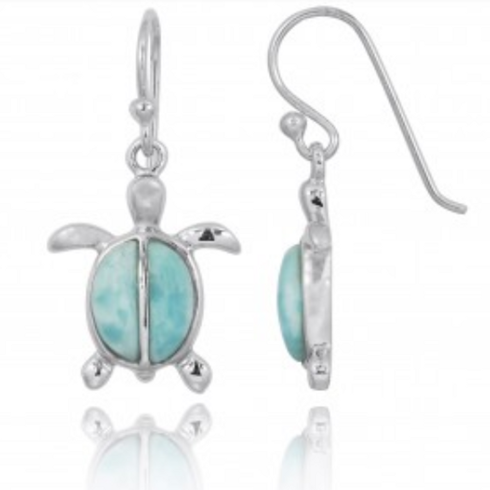 Turtle Sterling Silver Larimar Wire Earrings | Beyond Silver Jewelry | NEA3138-LAR