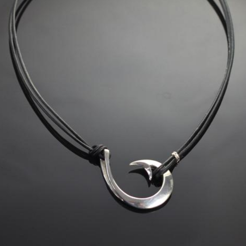 2 in 1 Circle Sterling Silver Hook Pendant Necklace | Anisa Stewart Jewelry | ASJ2-1p1050