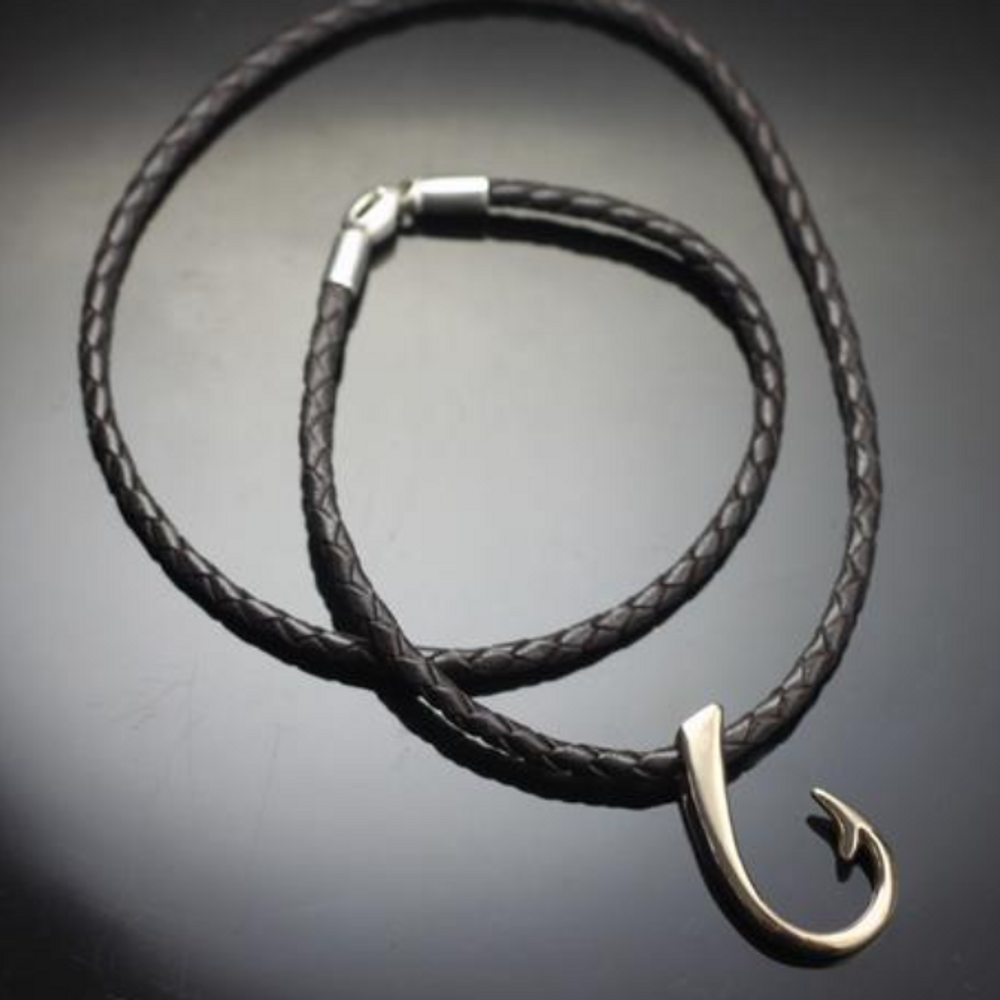 Large Bronze Hook on Braided Leather Cord Necklace   Anisa Stewart Jewelry   ASJbrp1017 b